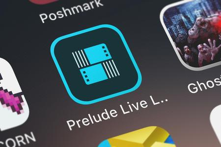 London, United Kingdom - October 05, 2018: Close-up shot of the Adobe Prelude Live Logger mobile app from Adobe. Editorial