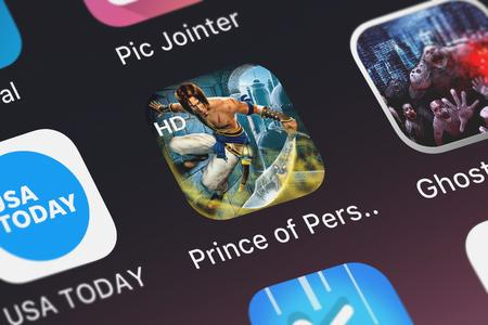 London, United Kingdom - October 05, 2018: The Prince of Persia Classic HD mobile app from Ubisoft on an iPhone screen.