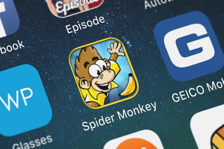 London, United Kingdom - October 07, 2018: Close-up shot of the Spider Monkey: Slide and Jump mobile app from Top Free Games. Editorial