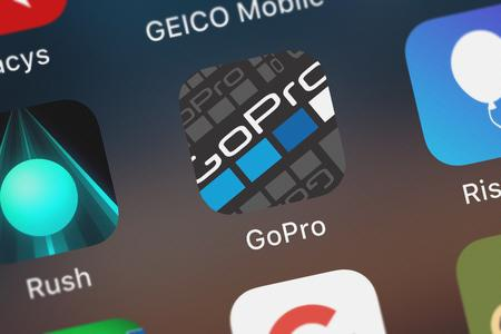 London, United Kingdom - October 07, 2018: Close-up of the GoPro (formerly Capture) icon from GoPro, Inc. on an iPhone.