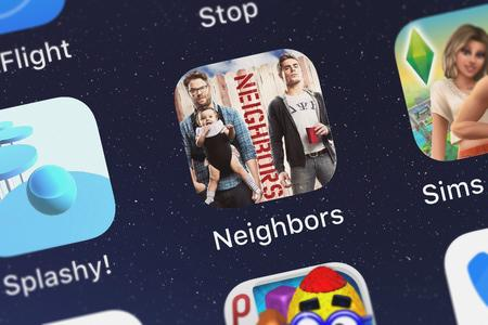 London, United Kingdom - October 07, 2018: Screenshot of the mobile app Neighbors: Get Neighbored from NBCUniversal Media, LLC.