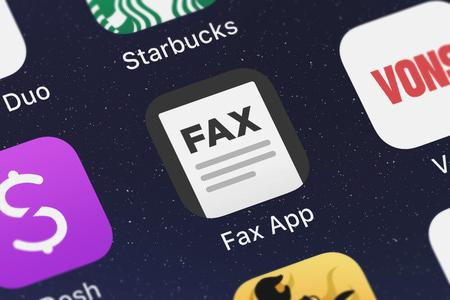 London, United Kingdom - October 05, 2018: Close-up shot of the Fax App - Send Fax from iPhone mobile app from BPMobile.