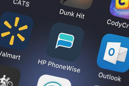 London, United Kingdom - October 05, 2018: Close-up shot of the HP PhoneWise application icon from HP Inc. on an iPhone.
