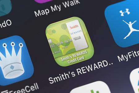 London, United Kingdom - October 05, 2018: Icon of the mobile app Smith's REWARDS Credit App from U.S. Bancorp on an iPhone.