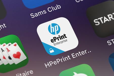 London, United Kingdom - October 05, 2018: Close-up shot of the HPePrint Enterprise MobileIron application icon from HP Inc. on an iPhone.