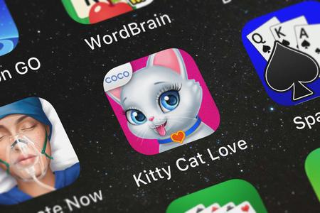 London, United Kingdom - October 05, 2018: Close-up shot of the Kitty Cat Love mobile app from Coco Play.
