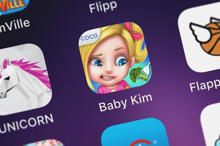 London, United Kingdom - October 05, 2018: Screenshot of Coco Plays mobile app Baby Kim - Care  Dress Up.
