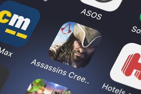 London, United Kingdom - October 05, 2018: Close-up shot of Ubisofts popular app Assassins Creed Pirates.