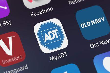 London, United Kingdom - October 07, 2018: Close-up shot of ADT LLCs popular app MyADT: ADT Customer Service – Home and Small Business Security Monitoring.
