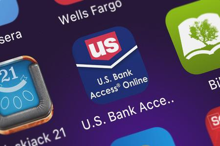 London, United Kingdom - October 05, 2018: Screenshot of the mobile app U.S. Bank Access® OnlineMobile from U.S. Bancorp.
