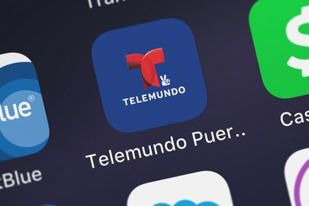 London, United Kingdom - October 07, 2018: Close-up shot of the Telemundo Puerto Rico mobile app from NBCUniversal Media, LLC.