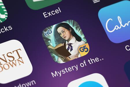 London, United Kingdom - October 07, 2018: Close-up of the The Mystery of the Crystal Portal HD (Full) icon from G5 Entertainment AB on an iPhone.