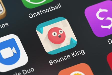 London, United Kingdom - October 05, 2018: Close-up of the Bounce King icon from tastypill on an iPhone.