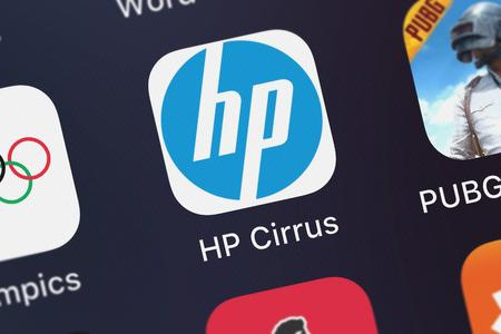 London, United Kingdom - October 05, 2018: Close-up of the HP Cirrus icon from HP Inc. on an iPhone.