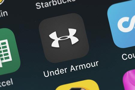 London, United Kingdom - October 05, 2018: Close-up of the Under Armour icon from Under Armour, Inc. on an iPhone.