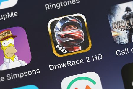 London, United Kingdom - October 05, 2018: Screenshot of the mobile app DrawRace 2 HD from Ubisoft.