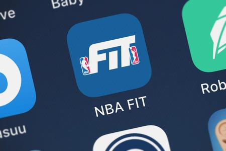London, United Kingdom - October 05, 2018: Icon of the mobile app NBA FIT from Under Armour, Inc. on an iPhone.