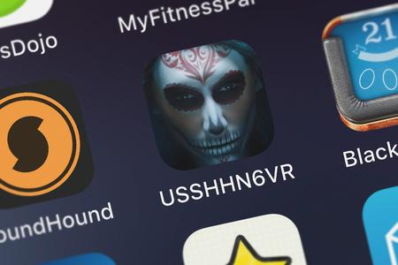 London, United Kingdom - October 07, 2018: Close-up shot of the USSHHN6VR application icon from NBCUniversal Media, LLC on an iPhone.