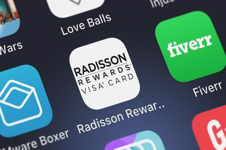 London, United Kingdom - October 05, 2018: Close-up shot of U.S. Bancorps popular app Radisson Rewards Visa.