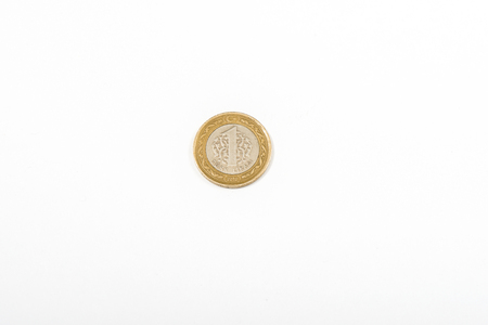 Turkish 1 Lira coin isolated money Currency photo