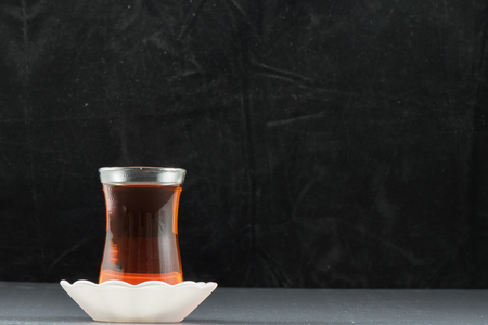 tradional: Turkish Tea and black  background tradional beverage