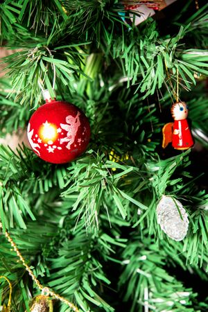 colourfull: Christmas Tree and color  Balls colourfull very well Stock Photo