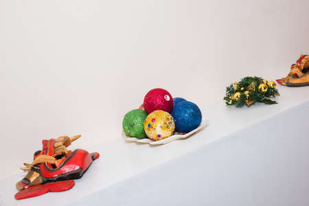 tradional: Christmas balls with tradional Mask with white background Stock Photo