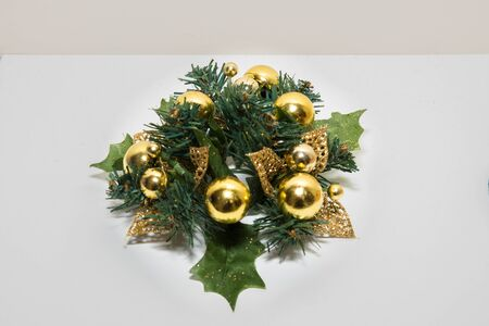 color balls: Christmas gold color balls with tree with white background