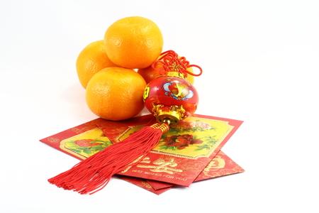 envelop: Chinese New Year Orange gift envelop and lantern CNY