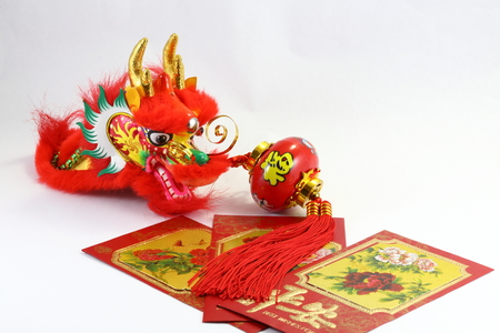 envelop: Chinese New Year gift envelop dragon and lantern CNY