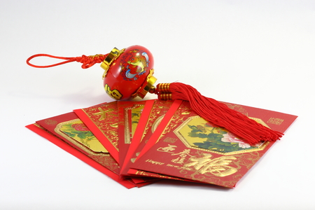 envelop: Chinese New Year gift envelop and lantern CNY Stock Photo