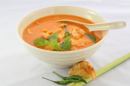 sour grass: Chicken Tom Yam Soup Stock Photo
