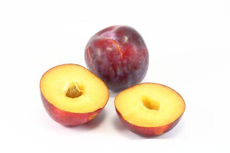 half cut: Plum half cut with seed