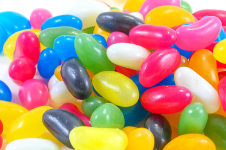 jellybean: Colorful Jellybean sweet candy on white background