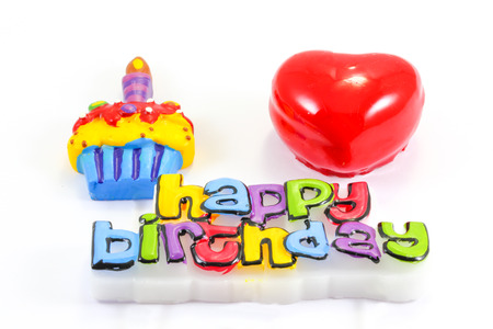 happy birth day: Happy Birth Day Cake Candle Hart Love Embossed Greeting word wax candle on white background