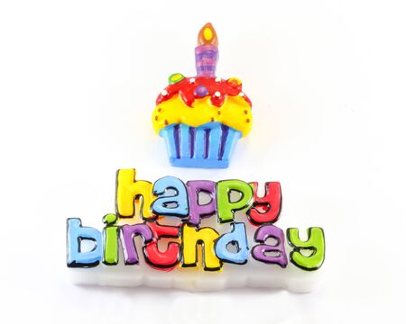 birth day: Happy Birth Day Cake Candle Embossed Greeting word wax candle on white background