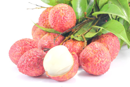 litschi: Fresh ripe juicy lychee  bunch on  white background