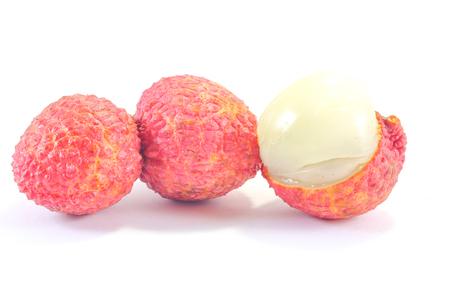 juicy: Fresh ripe juicy lychee on  white background Stock Photo