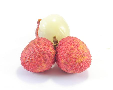 litschi: Fresh ripe juicy lychee fruit on  white background