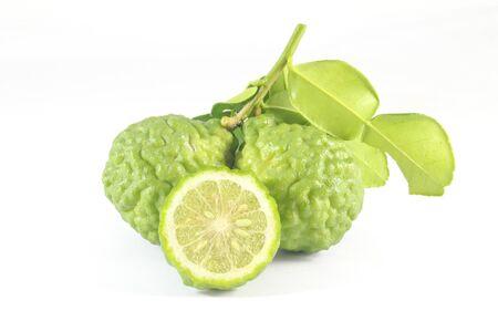lemon: Kaffir lime Citrus hystrix exotic aromatic Asian lime on white background