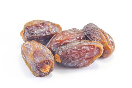 date fruit: Dried Date fruit sweet nutritious on white background Stock Photo
