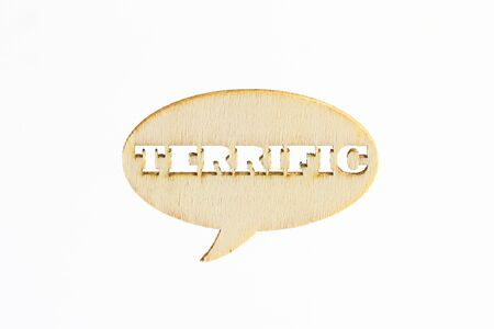terrific: Wooden sign word Terrific on white background