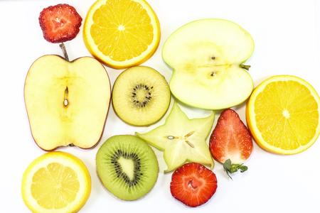 star fruit: Apple kiwi star fruit orange lemon strawberry slice on white background fruit art Stock Photo