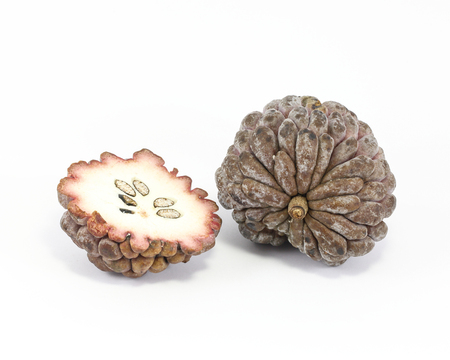 ata: Purple Sugar apple custard apple ata on white background Stock Photo