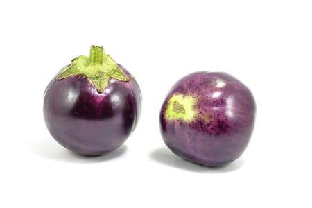aubergine: Eggplant Aubergine round purple on white background