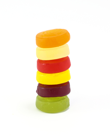 gummy: Sweet sour Gummy Jelly Candy on white background