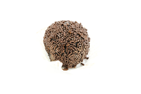 chocolate sprinkles: chocolate truffles chocolate sprinkles on white background Stock Photo