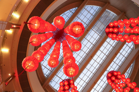 celling: Red Chinese Lantern chain hanging from the celling Stock Photo