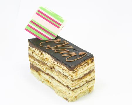 spongy: Chocolate cake slice spongy creamy on white background