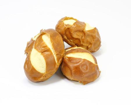 pretzel: Pretzel Rolls Bun Bread small soft on white background